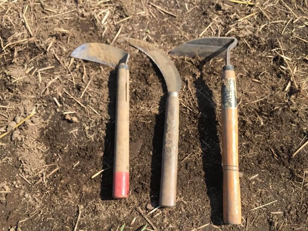 左から普通の鎌、ノコギリ鎌、ねじり鎌